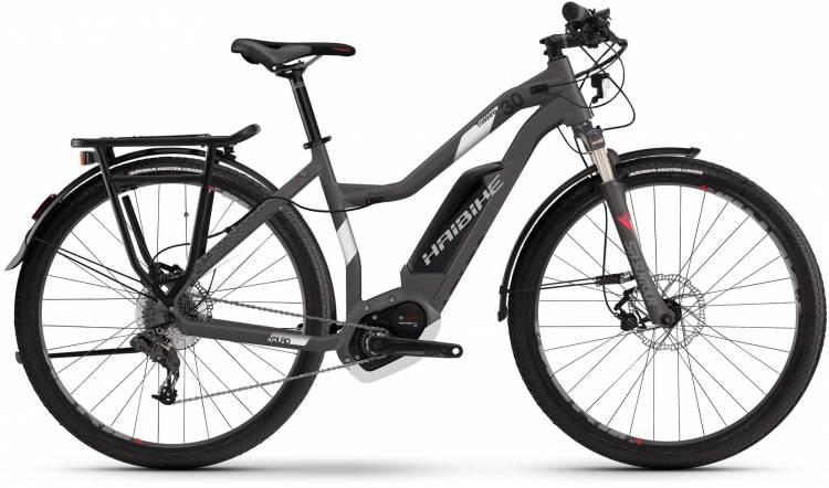Haibike XDURO Trekking 3.0 500Wh titan/weiß/rot matt 2017 - E-Bike da Trekking per Donne Trapezio