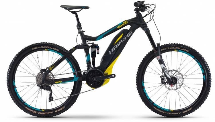 Haibike SDURO NDURO 6.0 500Wh schwarz/cyan/gelb matt 2017 - E-Bike Fully Mountainbike