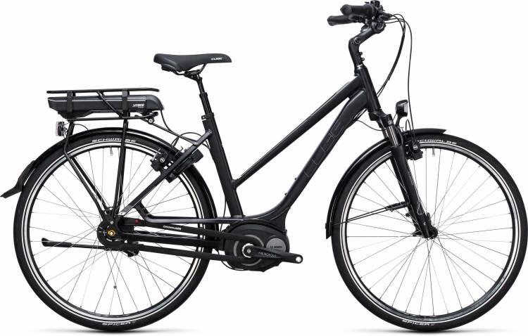 Cube Travel Hybrid 500 black n white 2017 - E-Bike da Trekking per Donne Trapezio