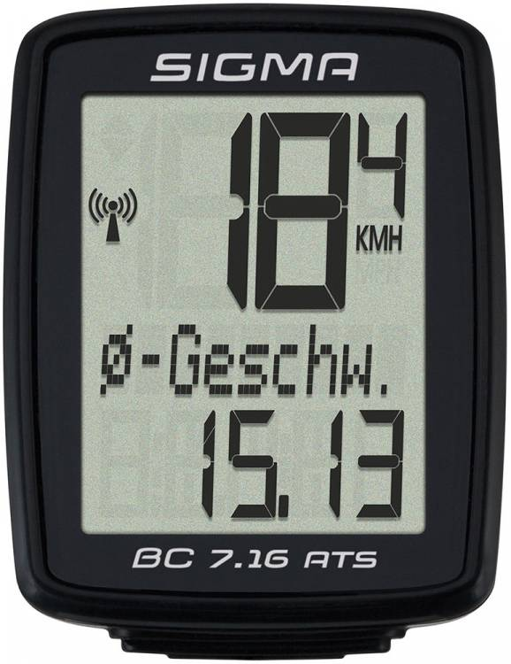 Sigma Fahrradcomputer BC 7.16 ATS kabellos schwarz