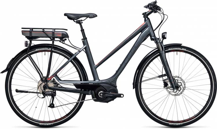 Cube Touring Hybrid 400 grey n flashred Damen Trapez 2017