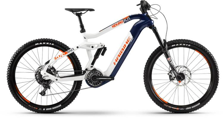 Haibike XDURO Nduro 5.0 FLYON i630Wh blau/weiß/orange 2021