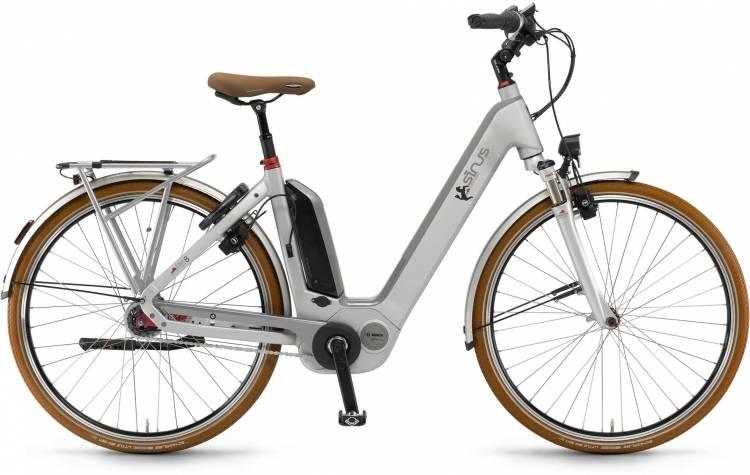 "Sinus Ena8 500Wh 28"" RT silber matt 2017 - E-Bike da Trekking per principianti"
